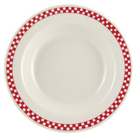 Homer Laughlin 2535413 Scarlet Checkers 12.75 oz. Ivory (American White) Rimmed Rolled Edge Soup Bowl - 24/Case