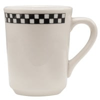 Homer Laughlin 1301636 Black Checkers 8.25 oz. Ivory (American White) Denver Mug - 36/Case