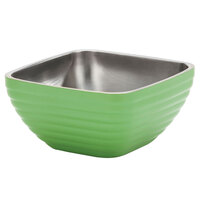 Vollrath 4763735 Double Wall Square Beehive 8.2 Qt. Serving Bowl - Green Apple