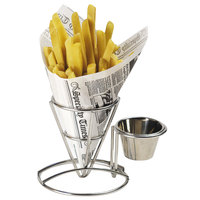 GET 4-880164 3 3/4 inch Round Stainless Steel Wire Cone Basket with Ramekin Holder