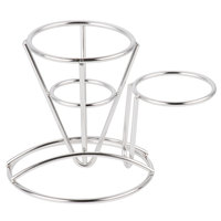 GET 4-880164 3 3/4 inch Round Stainless Steel Wire Cone Basket with Ramekin Holder