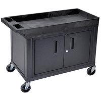 Luxor / H. Wilson EC12C-B Black 1 Tub, 1 Cabinet Utility Cart - 32 inch x 18 inch