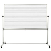 Luxor MB7248MM 72 inch x 48 inch Double-Sided Magnetic Music Whiteboard with Aluminum Frame and Stand