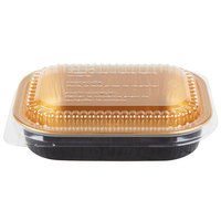 Durable Packaging 9220-PT-100 16 oz. Black Diamond and Gold Mini Foil Entree / Take Out Pan with Dome Lid - 25/Pack