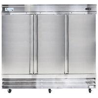 Avantco SS-3R-HC 81 inch Solid Door Reach-In Refrigerator - 66.5 cu. ft.