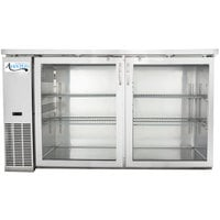 Avantco UBB-60G-HC-S 60 inch Stainless Steel Narrow Glass Door Undercounter Back Bar Refrigerator with LED Lighting
