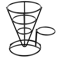 GET 4-361644 5 inch x 7 inch Black Wire Cone Basket with Ramekin Holder