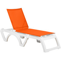 Grosfillex US746019 Calypso White / Orange Stacking Adjustable Resin Sling Chaise - 2/Pack