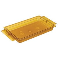 Amber Cambro 12HPH150 H-Pans 2 1/2 inch Deep Full Size High Heat Food Pan with Handles