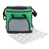 Choice Soft Sided 12 inch x 9 inch x 11 1/2 inch Green 24 Can Insulated Cooler with Microcore Thermal Hot or Cold Pack Kit