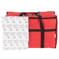 Choice 23 inch x 13 inch x 15 inch Red Insulated Nylon Food Delivery Bag / Pan Carrier with Microcore Thermal Hot or Cold Pack Kit