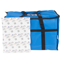Choice 23 inch x 13 inch x 15 inch Blue Insulated Nylon Food Delivery Bag / Pan Carrier with Microcore Thermal Hot or Cold Pack Kit