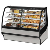 True TDM-DZ-59-GE/GE 59 inch Stainless Steel Curved Glass Dual Dry / Refrigerated Bakery Display Case with Stainless Steel Interior