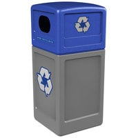 Commercial Zone 74613499 42 Gallon Gray Recycling Receptacle with Blue Lid and Decals