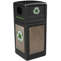 Commercial Zone 72235299 StoneTec 42 Gallon Black Recycling Container with Riverstone Panels