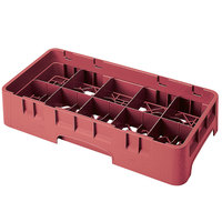 Cambro 10HS1114416 Cranberry Camrack 10 Compartment 11 3/4 inch Half Size Glass Rack