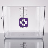 Rubbermaid 1980999 Color-Coded Clear 12 Qt. Square Food Storage Container with Purple Logo