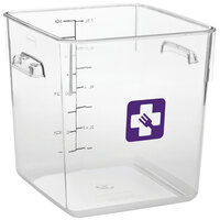 Rubbermaid 1980334 Color-Coded Clear 8 Qt. Square Food Storage Container with Purple Logo