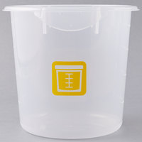 Rubbermaid 1980397 Color-Coded Semi Clear 4 Qt. Round Food Storage Container with Yellow Logo
