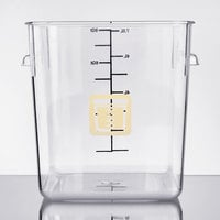 Rubbermaid 1980335 Color-Coded Clear 8 Qt. Square Food Storage Container with Brown Logo