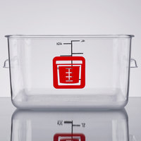 Rubbermaid 1980321 Color-Coded Clear 4 Qt. Square Food Storage Container with Red Logo
