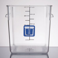 Rubbermaid 1980332 Color-Coded Clear 8 Qt. Square Food Storage Container with Blue Logo