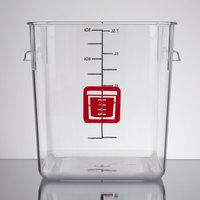 Rubbermaid 1980250 Color-Coded Clear 8 Qt. Square Food Storage Container with Red Logo