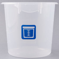 Rubbermaid 1980396 Color-Coded Semi Clear 4 Qt. Round Food Storage Container with Blue Logo