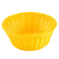 Tablecraft HM1175YE 8 1/4 inch x 3 1/4 inch Yellow Round Rattan Basket - 6/Pack