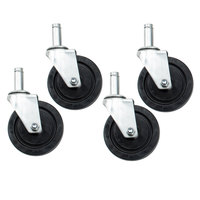 5 inch Rubber Swivel Stem Shelving Casters - 4 / Set
