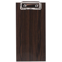 Choice 8 inch x 4 1/2 inch Dark Wood Menu Holder / Check Presenter with Clip