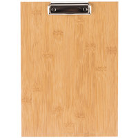Choice 12 1/2 inch x 9 inch Natural Wood Menu Holder with Clip