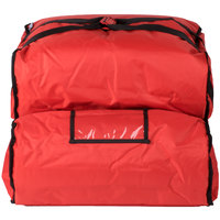 ServIt 20 inch x 20 inch x 14 inch Red Soft-Sided Heavy-Duty Nylon Insulated Pizza Delivery Bag - Dual Compartment