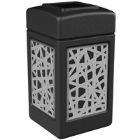 Commercial Zone 734261 Precision Series 42 Gallon Black Trash Receptacle with Stainless Steel Intermingle Panels