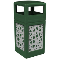Commercial Zone 732926099 Precision Series 42 Gallon Green Trash Receptacle with Stainless Steel Intermingle Panels and Dome Lid