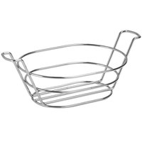 GET 4-22785 8 1/2 inch x 6 inch Stainless Steel Oval Basket with Handles