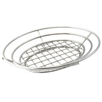 GET 4-83824 11 inch x 8 inch Stainless Steel Oval Basket with Raised Grid Base