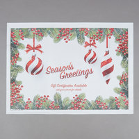 Hoffmaster 311143 10 inch x 14 inch Holiday Ornaments Gift Certificate Placemat   - 1000/Case