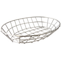 GET 4-84418 12 inch x 8 1/2 inch Stainless Steel Oval Grid Basket