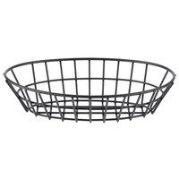 GET 4-30144 9 3/4 inch x 6 1/4 inch Black Iron Powder Coated Oval Grid Basket