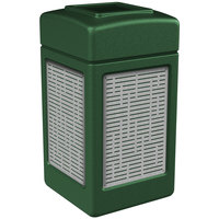 Commercial Zone 734060 Precision Series 42 Gallon Green Trash Receptacle with Stainless Steel Horizontal Line Panels