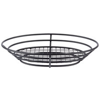 GET 4-38814 11 inch x 8 inch Black Iron Powder Coated Oval Basket with Raised Grid Base