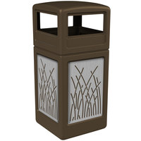 Commercial Zone 732916299 Precision Series 42 Gallon Brown Trash Receptacle with Stainless Steel Reed Panels and Dome Lid