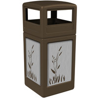 Commercial Zone 732996299 Precision Series 42 Gallon Brown Trash Receptacle with Stainless Steel Cattail Panels and Dome Lid