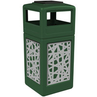 Commercial Zone 733026099 Precision Series 42 Gallon Green Trash Receptacle with Stainless Steel Intermingle Panels and Ashtray Lid