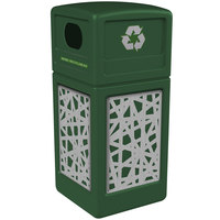 Commercial Zone 746126099 Precision Series 42 Gallon Green Recycling Receptacle with Stainless Steel Intermingle Panels