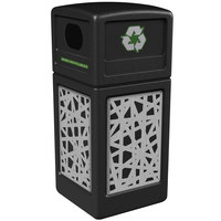 Commercial Zone 746126199 Precision Series 42 Gallon Black Recycling Receptacle with Stainless Steel Intermingle Panels