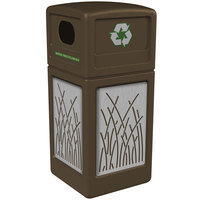 Commercial Zone 746116299 Precision Series 42 Gallon Brown Recycling Receptacle with Stainless Steel Reed Panels
