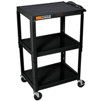Luxor / H. Wilson W42AE Black Metal 3 Shelf A/V Utility Cart 18 inch x 24 inch x 42 inch - Adjustable Height