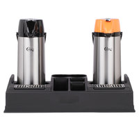 Choice 3-Piece Regular and Decaf 2.2 Liter Glass Lined Lever Airpots and Merchandising Plastic Rack Set